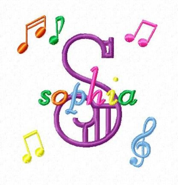 Music Notes Monogram Font Alphabet - Machine Embroidery Designs