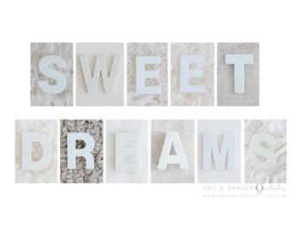 Modern Baby Print, Sweet Dreams Print, Nursery Art Print, White Baby Wall Decor, Alphabet Photography Print, Baby Art, New Baby Newborn Gift