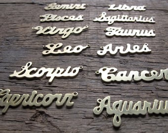 Astrological Sign Brass Necklace - YOU Choose - Gold Plated - Rhodium Plated - Rose Gold Plated - Raw Brass