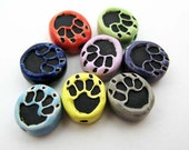 20 Tiny Wolf Paw Print Beads - mixed colors - CB697
