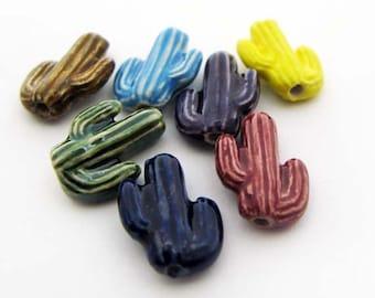20 Tiny Cactus Beads - mixed