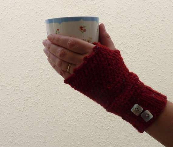 FINGERLESS mitts .Luxury Donegal tweed wool / Angora blend.( bright red)....Ready to ship..