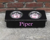 Raised Dog or Cat Bowl  Personalized Stand Shabby 4 inches tall 1 pint bowls