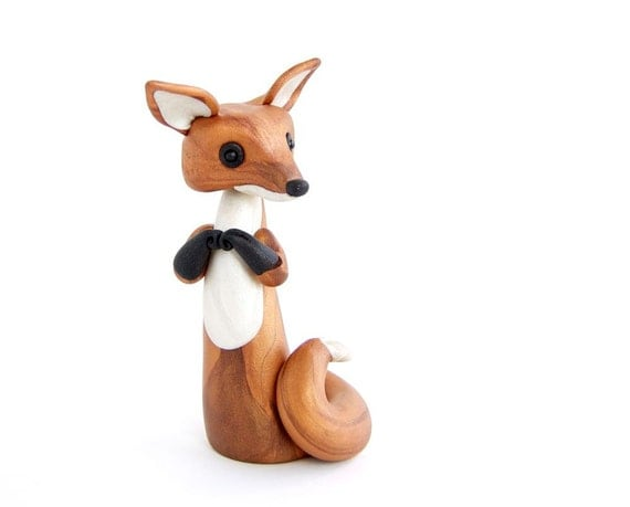 clay animal art of fox