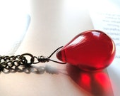 CRAZY SALE Teardrop Necklace, Red Glass Necklace, Deep Red Glass Drop, Pendant Necklace, Stocking Stuffer
