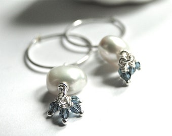 Jewelry, Pearl Earrings, Freshwater Pearls and Crystal, Sterling Silver Hoops, Dangle Earrings, Accessories, Gift Box