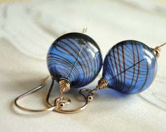 Mother's Day Gift, Jewelry, Gold and Blue Earrings, LampWork Glass, 14k Gold Filled, Sterling Silver Accessories