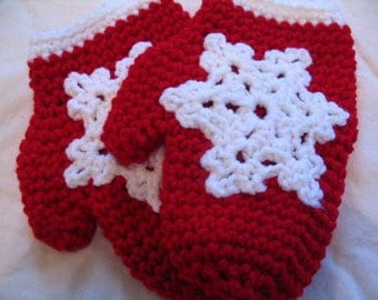 Red Crocheted Snowflake Mitten Ornament