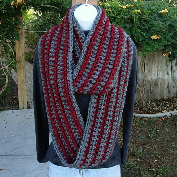 INFINITY LOOP SCARF..Dark Red & Charcoal Gray Grey Striped..Crochet Knit..Eternity Circle Winter Cowl..Super-Soft..Long...Ready to Ship