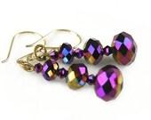 Iridescent Purple Earrings Vintage Style Gold Earrings Plum Purple Crystal Earrings Dark Purple Dangle Earrings