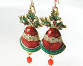Holly Bells Earrings Red Green Gold Christmas Earrings Christmas Gift Idea Holiday Jewelry