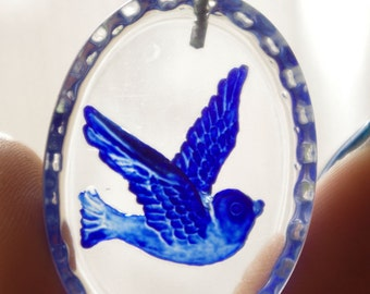 3Pcs Blue Bird Pendants With Loop