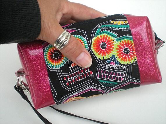 Sugar Skull Purse,  Hot Pink Handbag, Sparkle Vinyl Bag, Neon Sugar Skulls, Rockabilly Fashion, Summer Day of the Dead Fashion, Black Skulls