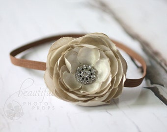 Taupe Flower Headband Newborn Photography Prop