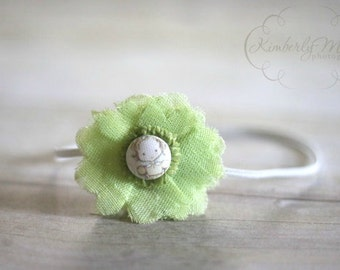 Lime Green Fabric Veil Flower Headband