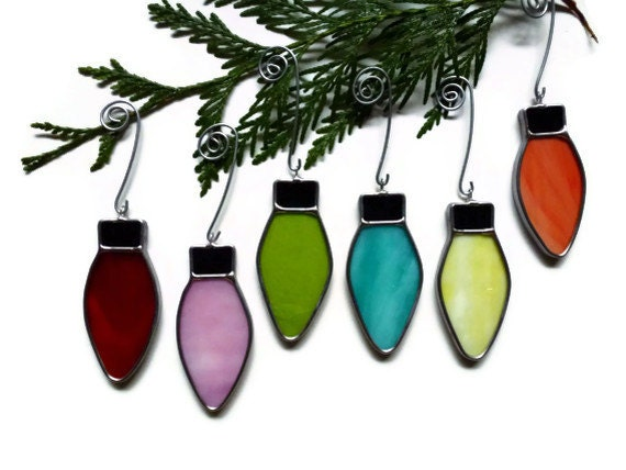 Stained glass christmas lights set of six ornaments
