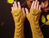 Owl Mustard Yellow Gloves, Long Hand Knitted Fingerless Gloves, Christmas Gift, Gift for her, Winter Arm Warmer