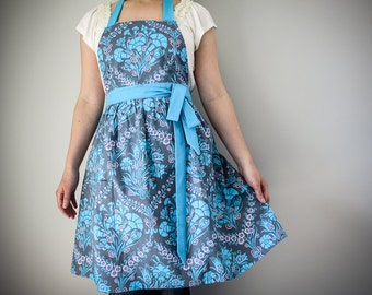 Vintage Inspired Women's Apron / Blue Grey Damask Print Amy Butler Gift for Woman Kitchen Accessory Hostess Gift Home Decor Retro Style