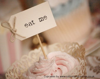 eat me Cupcake Toppers - ivory with twine bows - set of 10