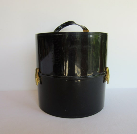 Acrylic Hat Boxes : Vintage black plastic round zippered hat box by
