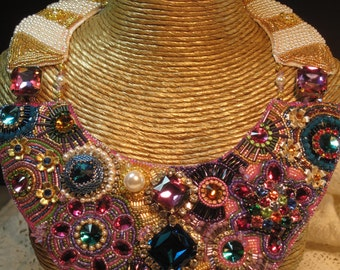 """Bead Embroidery Bib Necklace """"Kaleidoscope"""" for EBEG Bead Fest & Battle of the Beadsmith"""
