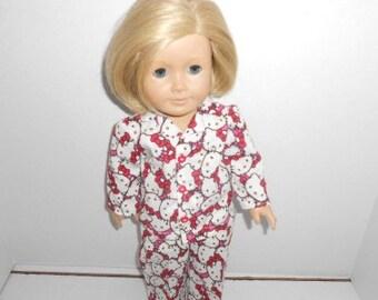 "Hello Kitty 2 piece pajamas fit 18"" American girl dolls"