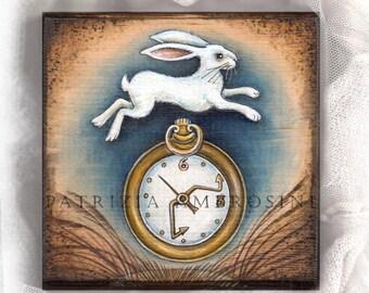 "4.5x4.5"" Handpainted art block on wood - "" white rabbit with watch""  - ORIGINAL Painting  woodpanel"