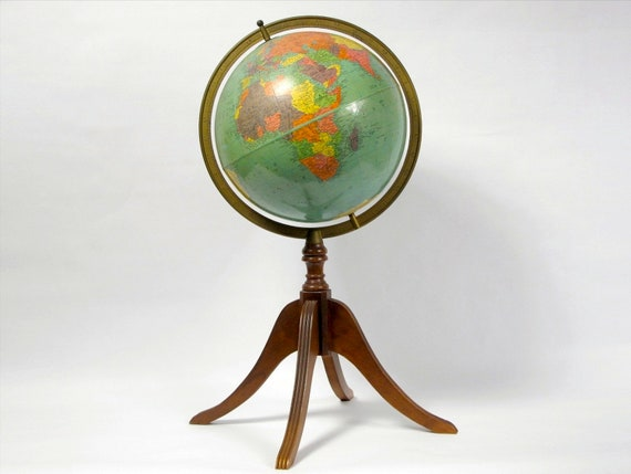 Vintage Floor Globe on Wooden Stand, 12 in. Replogle Reference World Globe, Beautiful colors