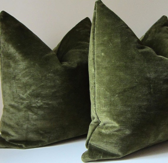 Ready Made Decorative Pillow Covers : Set of Two Moss Green pillows Decorative Pillow by studiotullia