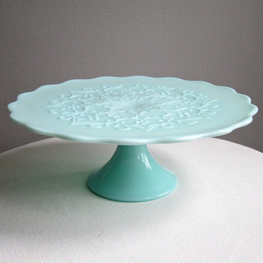Colored glass cake stand jade milk glass hobnail rimmed for Colored glass cake stand