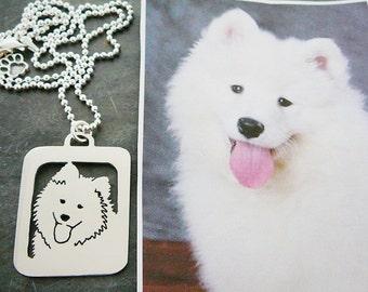 Custom Pet Portrait Pendant Necklace, Your Pet Pendant Sterling Silver .. Open Back, Head Shot Personalized