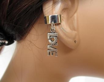 Ear Cuff Wrap Cartilage Silver Love Charm
