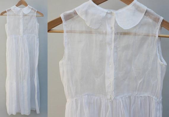 1910s sheer vintage tea dress, white, sleeveless, lightweight, glass buttons, summer - XxS