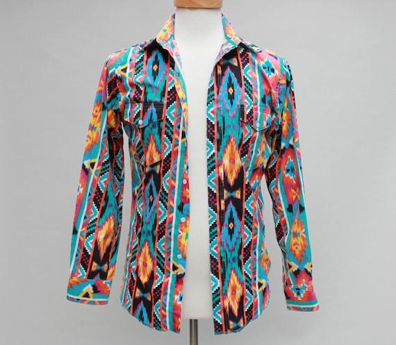 80s Vintage Men's Bright Geometric Pattern Wrangler Shirt - SMALL