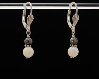 PROTECTED PURITY Black and White Yin Yang Earrings (Mother of Pearl, Midnight Pearls, Sterling Silver shell lever backs)