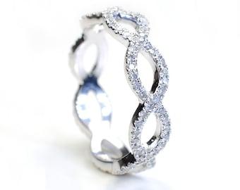 Diamond Ring, Diamond Wedding Band, Diamond Infinity Band, Criss Cross Ring, Wedding Band, Diamond Gold Wedding Band, Diamond Band, Nixin
