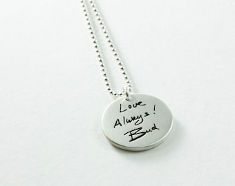 Memorial Jewelry Your Loved Ones Actual Handwriting on a Fine Silver Pendant
