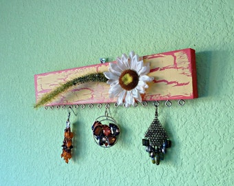 Earring holder - Daisy and Grass - Red & Yellow