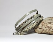 Grey and Cream Brown Cuff / Snakeskin  Print Leather  Double Wrap Bracelet