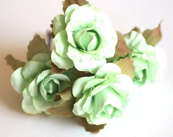 Mint Rose, Bridal Hair Accessories, Wedding Accessories, Bridesmaid Hair Flower, Light Green Hair Flower, Brass Bobby Pin Set of 4