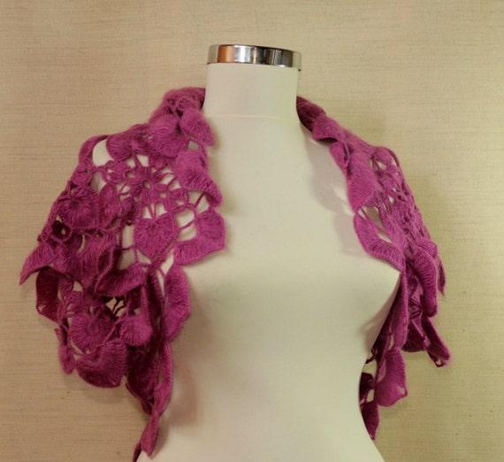 Inhale for Autumn-Crochet Shrug Bolero Fuschia Flower Bridal Bolero Wedding Lace Shrug Capelet (S-M-L)