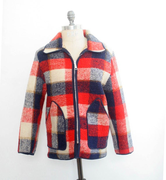 1950s Plaid Zipper Jacket - Red- Navy - White