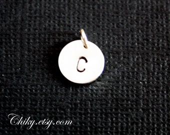 Personalized Disc ( 9mm  )Silver Disc add on , Hand Stamped one Initial. Comes with jump ring