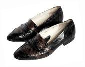GIORGIO BRUTINI Snakeskin Loafers Size 9.5