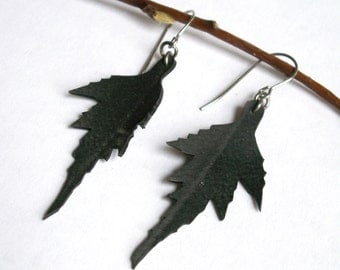 Birch Leaf Earrings - upcycled from bike inner tube - Sale Jewelry