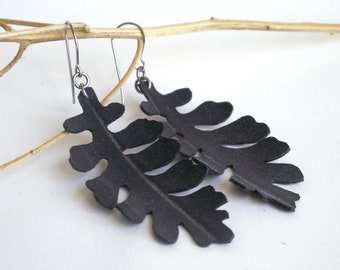 Dust Miller Leaf Earrings - lacy cut black bike inner tubes