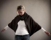 ON SALE-Dark Brown Slouchy Cardigan Shrug-Large Cowl Neck Sweater Shrug in Brown Angora Jersey-Plus Size Bolero Shrug by MoonHalo