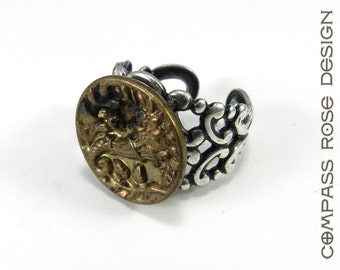 Victorian Button Ring - Silver and Gold  - Antique Button Ring - Adjustable - Silver Plated Band - 1860-1910