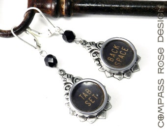 STEAMPUNK Earrings - Upcycled Retro Typewriter Key Earrings - Back Space and Tab Set on Silver Teardrop