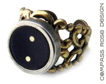 Steampunk Ring Steam Punk Typewriter Key Ring -  Punctuation Key Ring -  Brass Adjustable Ring